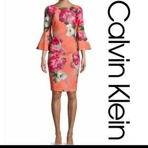 Calvin Klein S4 orange floral bell sleeve dress